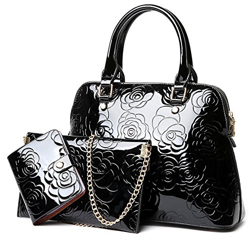 Clean Patent Leather Purse - QZUnique Women's Shiny Patent PU Leather Top Handle Bag Tote Cross boday Bag Satchel