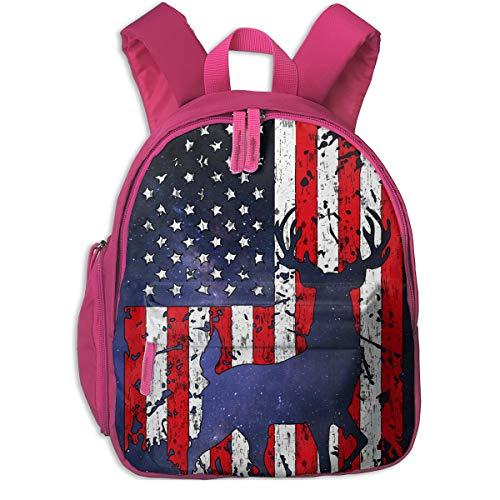 American Flag Deer Kids Lightweight Canvas Travel Backpacks School Book Bag by Wodehous Adonis