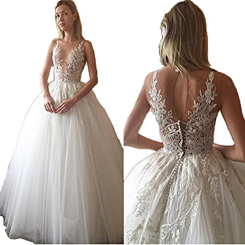 Ellenhouse-Womens-A-line-Long-Tulle-Bridal-Gown-Lace-Applique-Wedding-Dresses