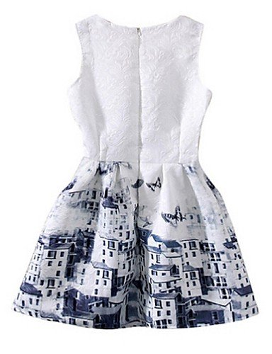 PU&PU Robe Aux femmes Gaine Simple,Fleur Col Arrondi Au dessus du genou Polyester , white-l , white-l