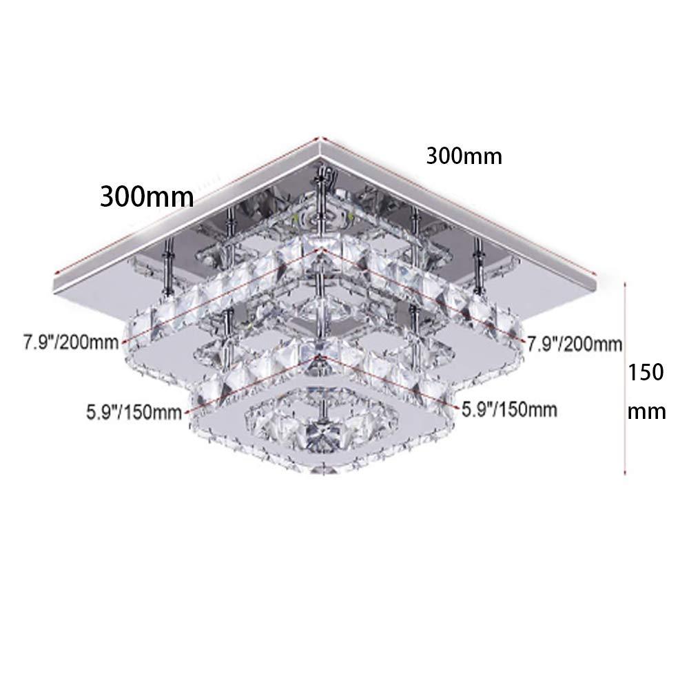 blanca fr/ía LED de luz de techo,L/ámparas de cristal 30cm 36W Acero inoxidable Cristal L/ámpara Flush montaje en el techo para el dormitorio Comedor Pasillo