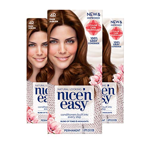 Clairol Nice'N Easy Hair Color Crème, 4R Dark Auburn, 3 count (Packaging May Vary)
