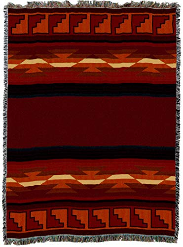 Pattern Navajo - Pure Country Weavers | Pasqual Southwest Blanket | Woven Throw with Fringe Cotton USA 72x54