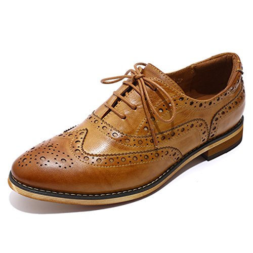Mona flying Womens Leather Perforated Lace-up Saddle Oxfords Brogue Wingtip Derby Shoes ()