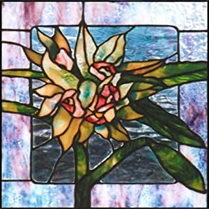 lily flower with green leaves etched vinyl stained glass film static cling window. Black Bedroom Furniture Sets. Home Design Ideas