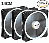 600mm fan - upHere Halo Ring Led 140mm case fan 3 PACK Hydraulic Bearing quiet cooling case fan for computer MIRAGE Color LED fan 3 pin with Anti Vibration Rubber Pads(White)/14CMW3-3