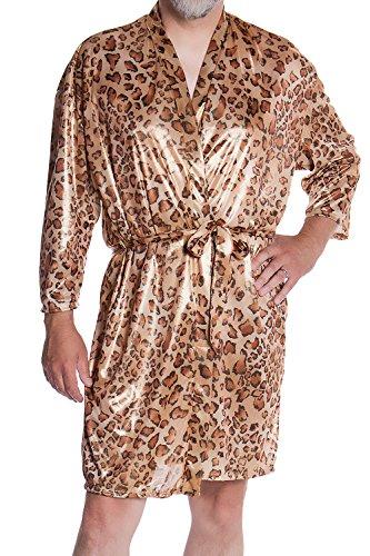 Vx Intimate Men's Metallic Foil Short Kimono Robe #3108 (O/S, Gold Animal)