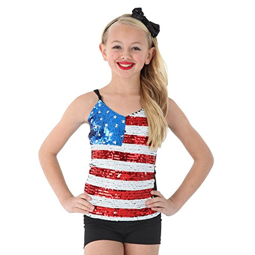 Alexandra Collection Youth Patriotic USA Sequin Dance Costume Tank Top Multi Medium
