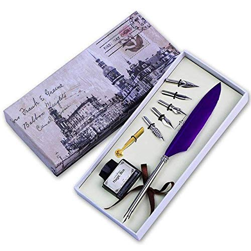 DEZIINE® Antique Quill Feather Dip Pen Writing Ink Set Stationery Box with 6 Nib Pen Pen Mother's Day Wedding Gift Pen - Purple (B07N3TJM4Z) Amazon Price History, Amazon Price Tracker