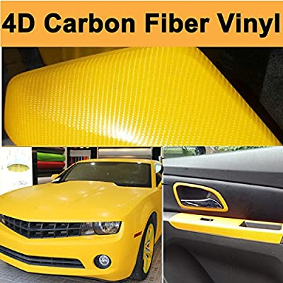 "DIYAH 4D Yellow Carbon Fiber Vinyl Wrap Sticker with Air Release Bubble Free Anti-Wrinkle 12"" X 60"" (1FT X 5FT): Automotive"