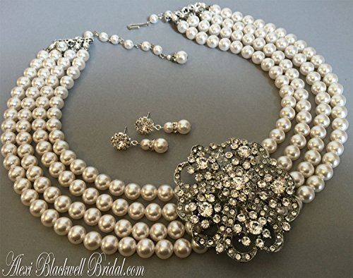 Statement Pearl Wedding Necklace with Center Brooch 4 strands White or Ivory Swarovski pearls by Alexi Blackwell Bridal -