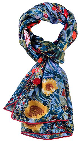 Salutto Women 100% Silk Scarves Van Gogh Painted Boutique Scarf