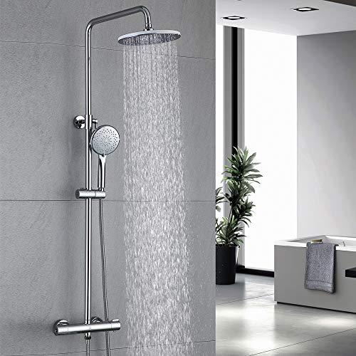 HOMELODY 40ºC Columna de Ducha Termostática Multifuncional Conjunto de ducha Latón Cromado Inoxidable Altura Ajustable…