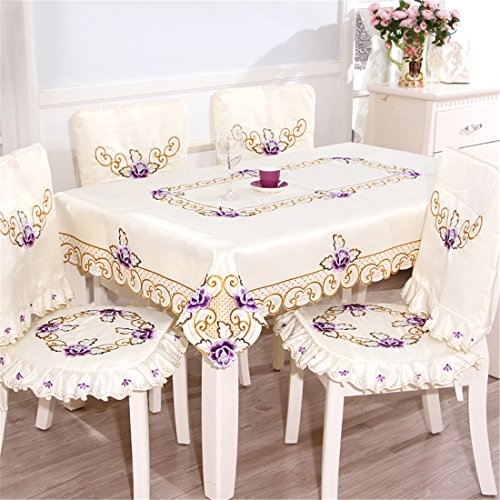 European and pastel purple flower embroidered beige round tablecloths for banquet party dinning room for round or square table
