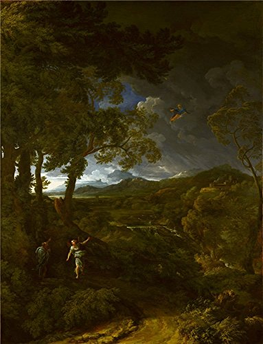 The Polyster Canvas Of Oil Painting 'Gaspard Dughet Landscape With Elijah And The Angel ' ,size: 20 X 26 Inch / 51 X 66 Cm ,this High Quality Art Decorative Canvas Prints Is Fit For Gym Artwork And Home Decoration And Gifts