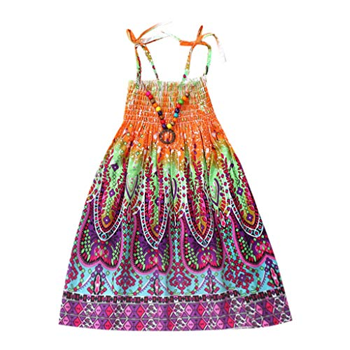 WOCACHI Toddler Baby Girls Dresses, Infant Kids Girls Baby Clothes Vestidos Floral Bohemian Beach Straps Dress Back to School Easter Egg Costume Parade Bunny Lily Eggs Roll Basket Mother's Day Orange ()