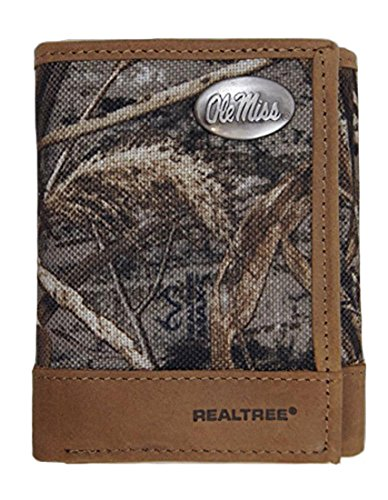NCAA Mississippi Ole Miss Rebels Realtree Nylon/Leather Trifold Concho (Goal Sporting Goods Nylon Football)