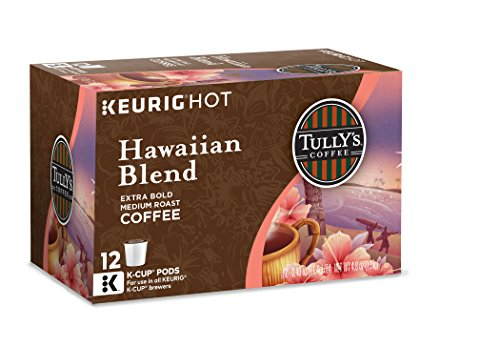 Tully's Coffee Keurig Single-Serve K-Cup Pods, Hawaiian Blend Medium Roast Coffee, 72 Count (6 Boxes of 12 Pods)
