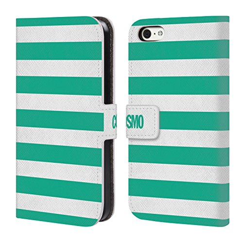 Official Cosmopolitan Teal Stripes Collection Leather Book Wallet Case Cover For Apple iPhone 5c