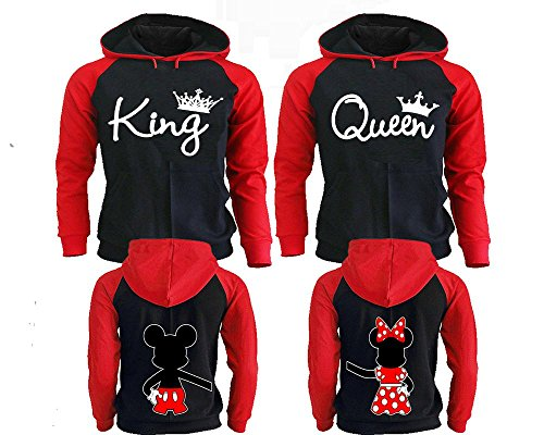 Hilarious Hoodie Sweatshirt (King And Queen Hoodies For Couples, Matching Couple Hoodies, His And Her Hoodies Black - Red Man Large - Woman Medium)
