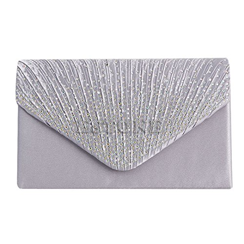 Rhinestone Bag Evening Women Sparkling 1Pc Sliver Satin Clutch Frosted Handbag Purse SnwAEUq7