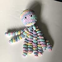 Crochet Octopus for Preemies, Crochet Octopus for Babies in Variegated Light Blue, Pink and Yellow, Crochet Amigurumi