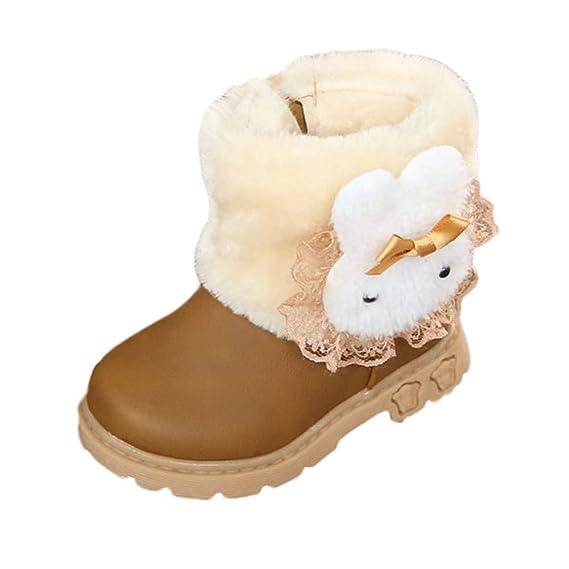 YanHoo Zapatos para Niños Botas de Nieve para niños Botas para niñas Botas de algodón para bebés Botas Cortas Conejo Cabeza Bebé algodón Antideslizante ...