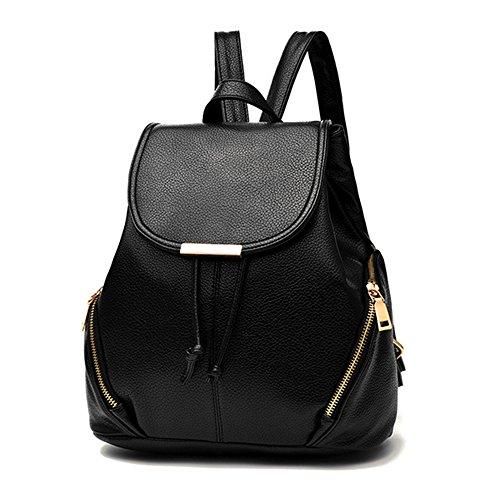 BAIGIO Women Fashion Backpack PU Leather Casual School Bag Drawstring Shoulder Bag Black Mini Backpack for Girls