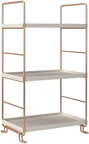kaileyouxiangongsi Plastic Metal Freestanding Stackable Organizer Shelf,Bathroom Countertop Storage Shelf Cosmetic Organizer Holder Kitchen Spice Rack,3-Tier Standing Rack Rose Gold