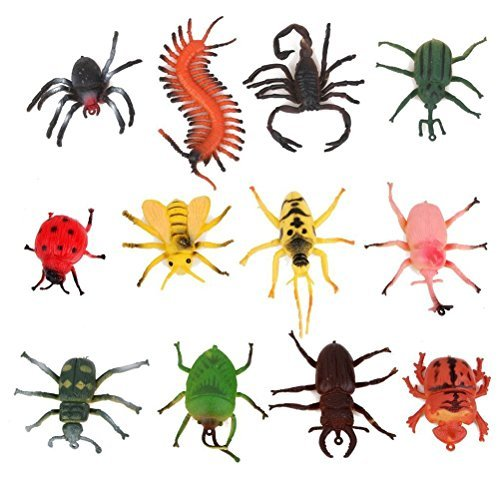 ROSENICE 12pcs Mini Insect Bug Animal Figures Toys Joke Trick Gag Toy -