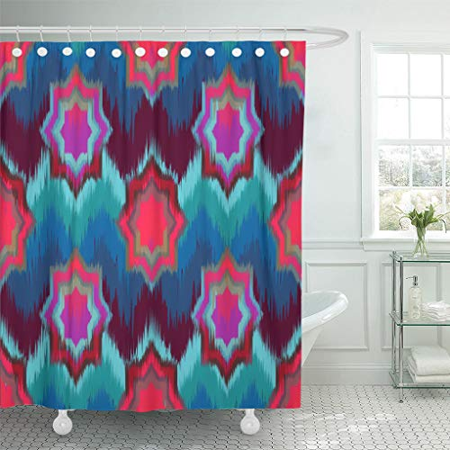 Ashleyallen shower curtain Blue Abstract Ethnic Ikat Pattern Traditional on the in Indonesia and Other Asian Countries Colorful shower curtain 72 x 72 Inches shower curtain with plastic Hooks by Ashleyallen