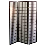 Coaster Oriental Style 4-Panel Room Screen Divider, Black Framed (Cherry, 3 panel)