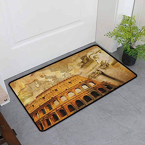- ONECUTE Funny Doormat,Retro Roman Empire Concept Famous Columns Sculptress Colosseum Map of The Nation Print,Easy Clean Rugs,35