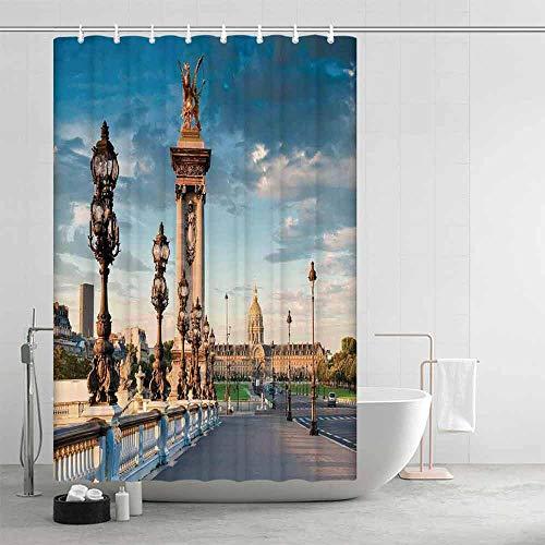 YOLIYANA Paris Decor Distinctive Shower Curtain,Pont Alexandre III Bridge 1896 Spanning The River Seine Ornate Art Nouveau Lamps for Men Women,63