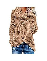 FarJing Women Cowl Neck Asymmetric Hem Wrap Sweater Sweatshirt Pullover Blouse Shirt