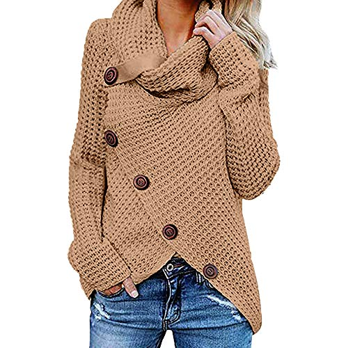 Womens Cowl Neck Sweater Warm Cable Knitted Loose Button Wrap Asymmetrical Pullover Tops (Belt Silk Beaded)