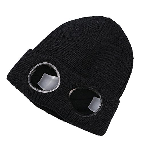 Hat With Goggles (Unisex Wool Knitted Goggles Beanie, Warm Winter Stylish Hat Autumn Outdoor Sports Cap Fashion Womens Indoor Leisure Heat Keeper Ear Snow Cold)