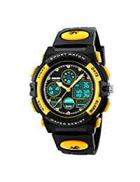 Kids Sport Outdoor Digital Unusual Analog Quartz Dual Time Zone Waterproof Watch with Chronograph Alarm Calendar Date Window for Boys Girls Children (yellow)