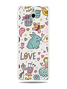 "GRÜV Premium Case - ""Cartoon Style Love Medley with Hearts & Bunnies"" Design - Best Quality Designer Print on White Hard Cover - for Nokia 515"