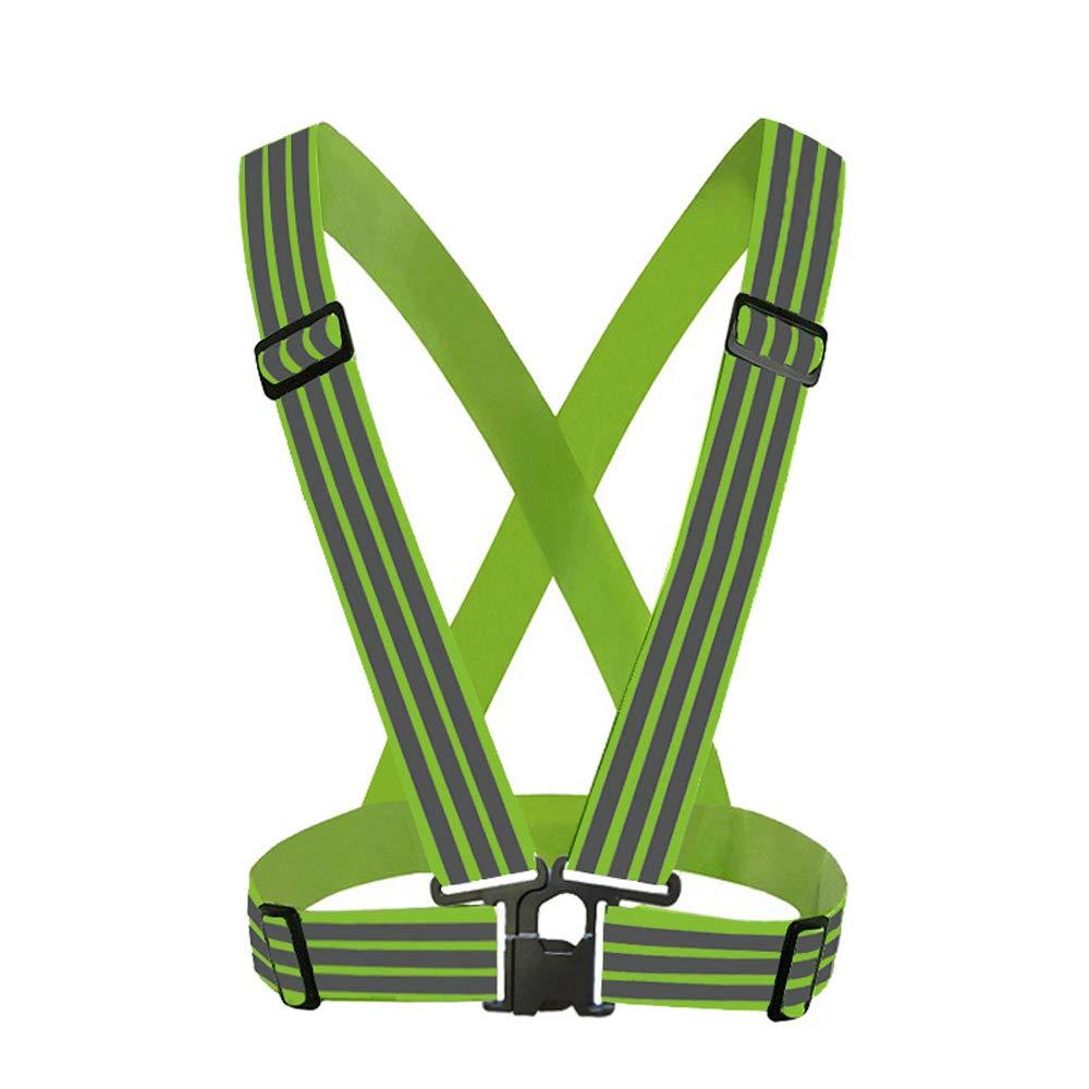 Enjoysports Verstellbare Starke Lichtreflektierende Weste Laufbekleidung Satety Schärpe Taillengürtel Streifen Jacke Hohe Sichtbarkeit Arbeitskleidung Weste, Neon-Grün