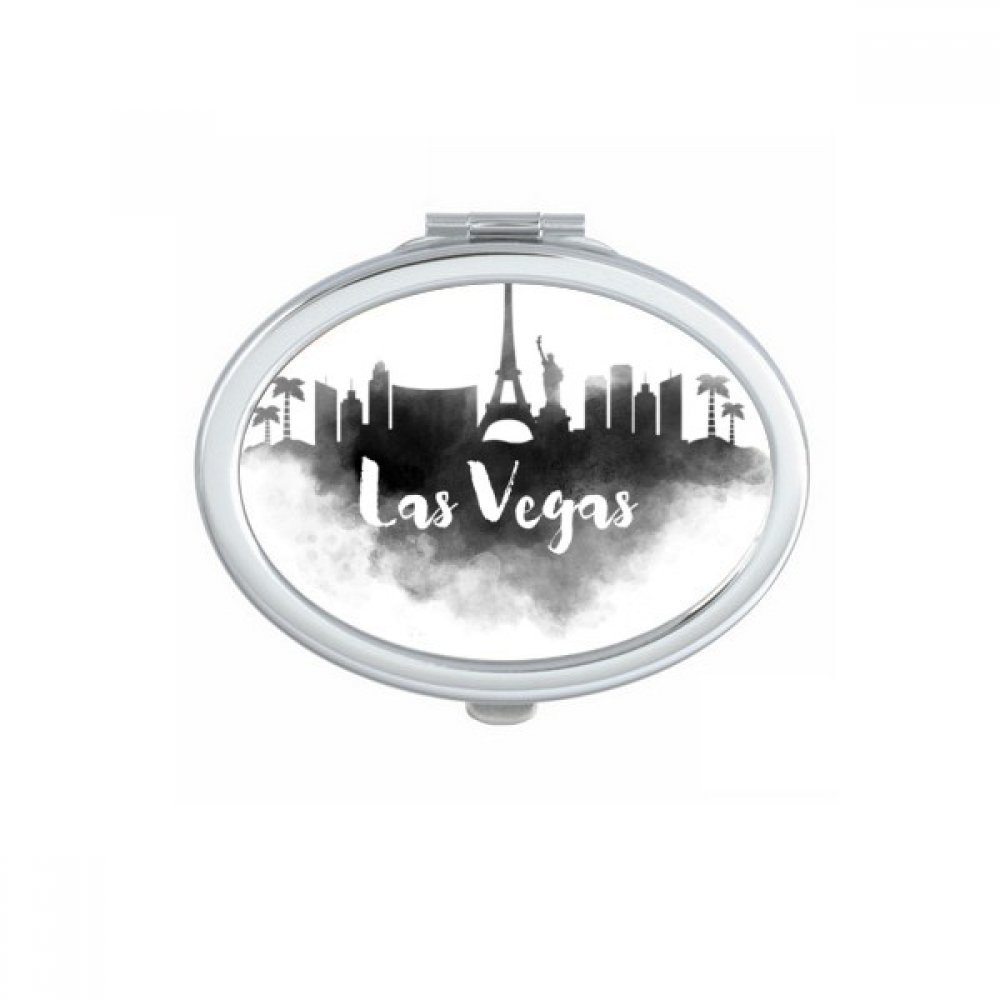 Las Vegas America Ink City Oval Compact Makeup Pocket Mirror Portable Cute Small Hand Mirrors Gift