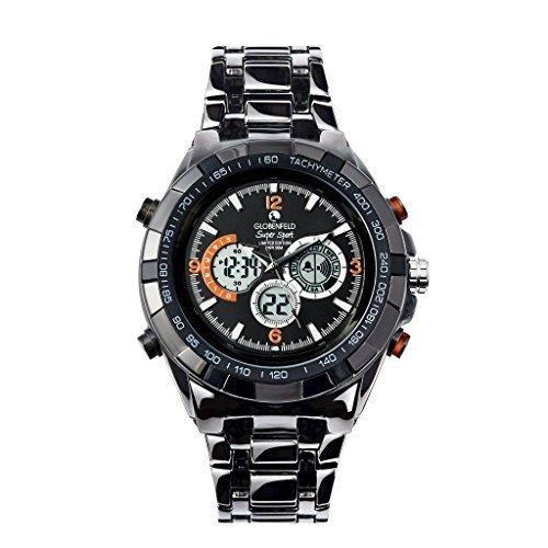 Globenfeld Super Sport Metal Men's Watch - Jet Black 3-Function Analog/Digital Display with Stopwatch and Tachymeter - Large 51mm Face - Platinum 5 Year Warranty, 60 Days Risk Free (Black)