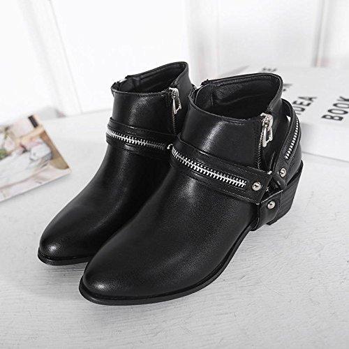 LvYuan-mxx Las mujeres ponen en cortocircuito los cargadores / el verano y la resorte / Zipper señaló el dedo del pie / talón grueso / oficina y carrera / vestido / ocasional / zapatos de tacón alto , 39-BLACK