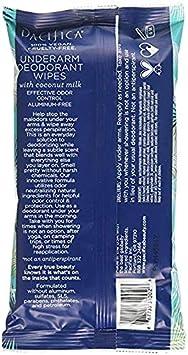Pacifica Underarm Deodorant Wipes, Coconut Milk Essential Oils, 240Count
