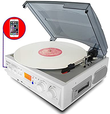 Boytone BT-37WT-C White Color Limited Edition 3-Speed Stereo Turntable, 2 Built-In Speakers, LCD Display, AM/FM Radio, USB/SD/AUX+ Cassette/MP3 & WMA Playback/Recorder/ Headphone Jack , Remote control from Boytone