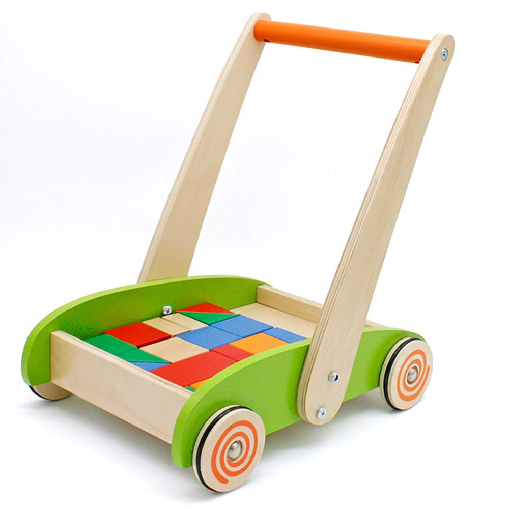 london kate Deluxe Children's Roll Cart with Blocks Wooden Push and Pull Toy Activity Baby Walker