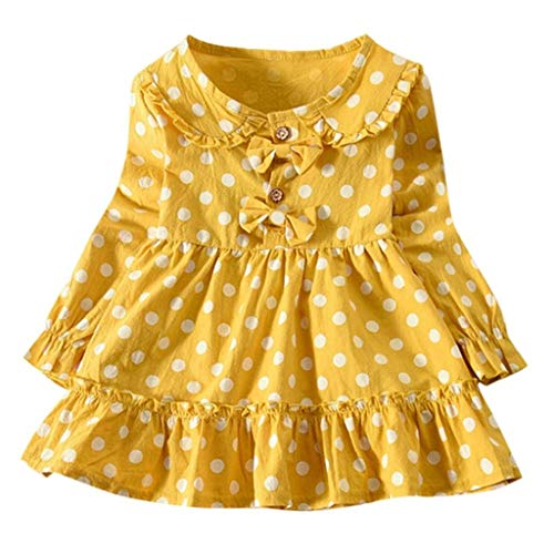 terbklf Toddler Baby Kids Girls Long Sleeve Ruched Dots Printed Double Bow Decoration Clothes Long Sleeve Slim Coat Yellow