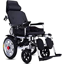 Szeao Electric Wheelchair Compact Auxiliary Wheelchair Elderly Disabled Folding Portable Electric Wheelchair Dual Motor Manual Electric Dual Mode/Lithium Battery,Gray