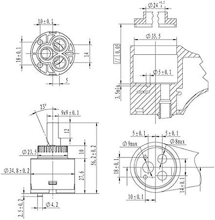 ducha 2 unidades lavabo 40 mm. Ownace Cartucho de repuesto interior de pl/ástico con disco de cer/ámica de 35/mm para grifo monomando de ba/ño pl/ástico