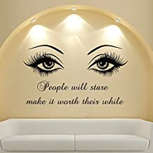 Wall Decal Quote Beauty Salon Make-Up Girl Woman Decals Vinyl Sticker Wall Decor Bedroom Window Art Mural MN808